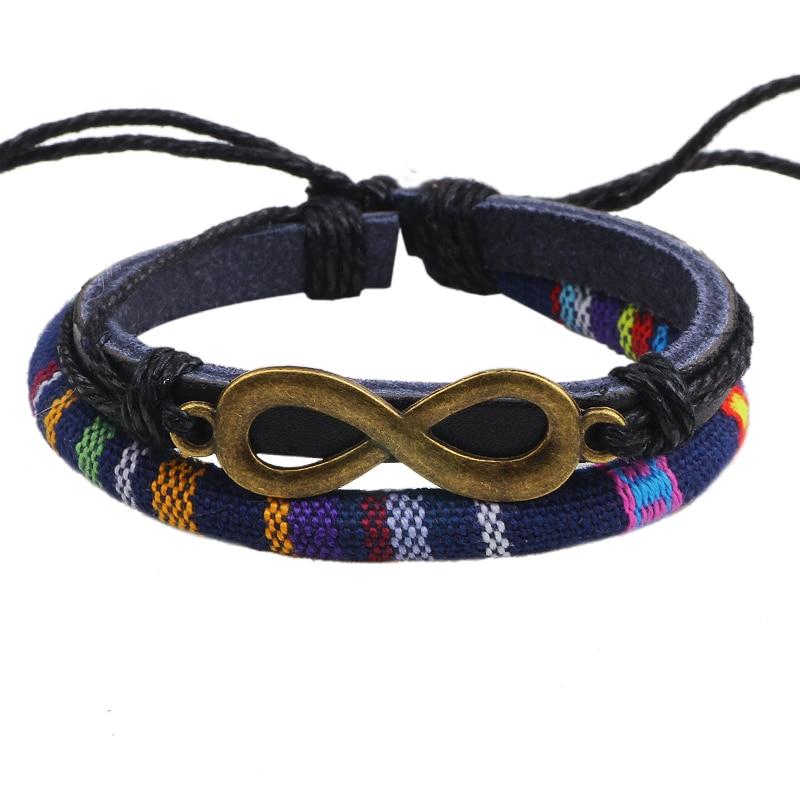 Linnor Ethnic Hippie Twist Cotton Rope Infinity Braslet Femme Hippie Homme Bracelt Pulseira de Couro Jewelry for Men