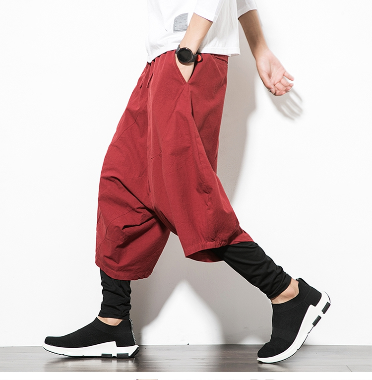 MRDONOO Men Pants Men's Wide Crotch Harem Pants Loose Large Cropped Trousers Wide-legged Bloomers Chinese Style Flaxen Baggy 118