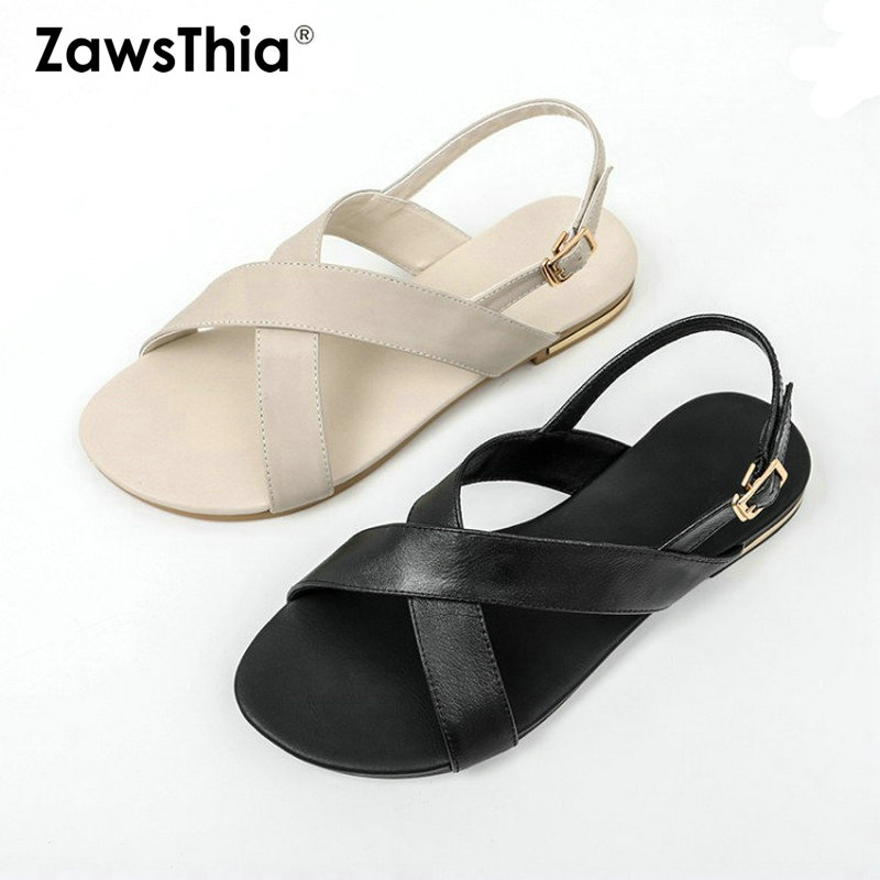 ZawsThia 2019 Summer Genuine Leather Cross Strap Slingback Sandals Woman Caual Flats Shoes Black Offwhite Women Sandals Size 46