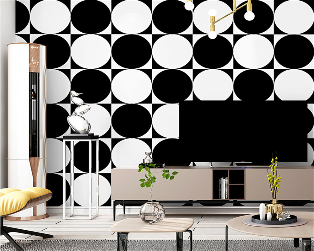 beibehang Personality Wallpaper Black White Modern Simple Nordic Geometric Living Room Bedroom Restaurant Background wall paper in Wallpapers from Home Improvement