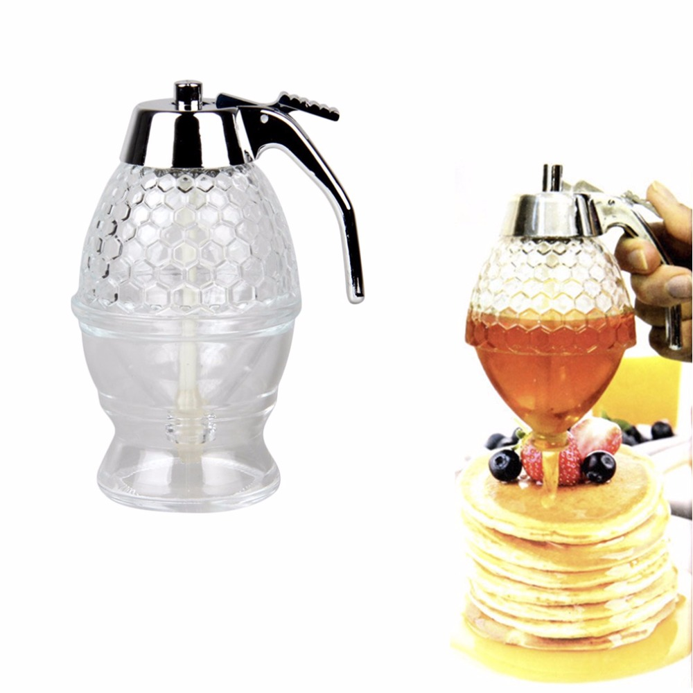 200ML Glass Honey Syrup Dispenser 1 Cup Bee Hive Acrylic ABS Honey Syrup Dispenser Jar Store DispenserS Kitchen Family Breakfast