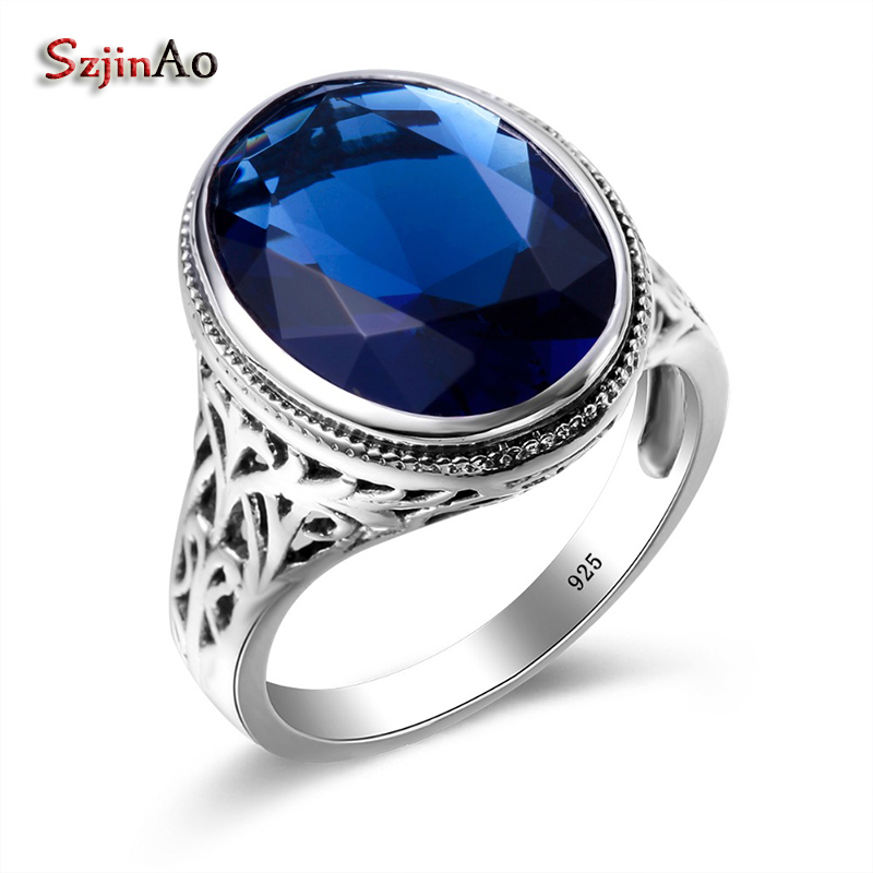Szjinao Charms Oval Big Rings For Women 4.5ct Sapphire Party Ring Genuine 925 Sterling Silver Jewelry Wedding Gift