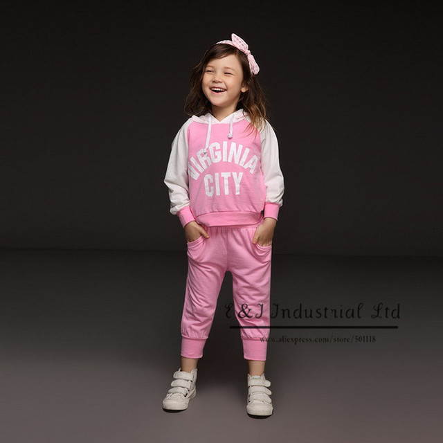 2016 Hot Pink Wholesale Kids Girls Tracksuits Letter Hooded Top And Solid Casual Pants For Girls Clothes Soft