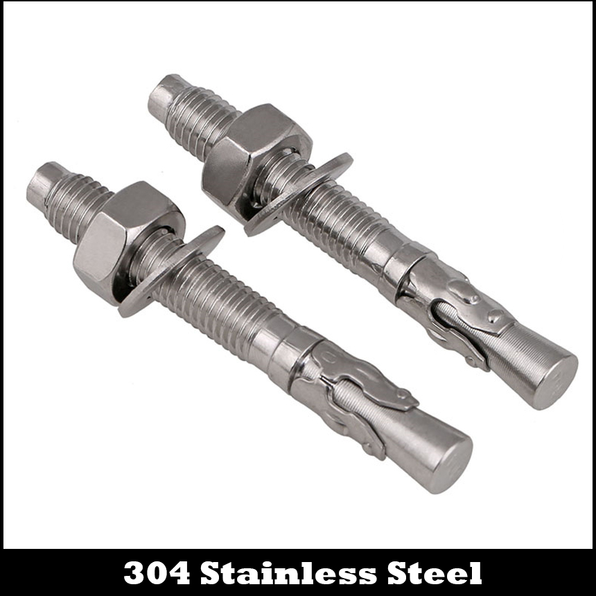 M10 M10*70 M10x70 M10*80 M10x80 M10*90 M10x90 304 Stainless Steel Car Repair Screw Wedge Concrete Anchor Sleeve Expansion Bolt m20 200 2pcs expansion turning wedge anchor hardware accessories