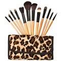12 unids/set Pro Pinceles de Maquillaje Sombra de Ojos De Madera Cejas Herramienta Blush Fundación del Cosmético Del Cepillo con el Bolso de Leopardo