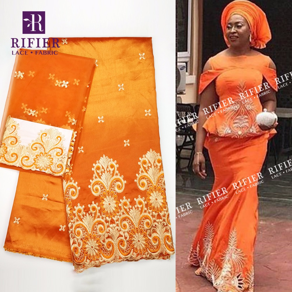 2018 New Arrival !! Orange African George Lace Fabric With