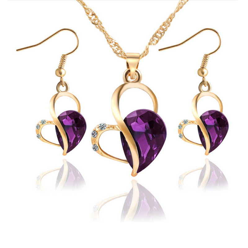 Vintage Women Costume Gold Diamante Crystal Rhinestone Heart purple jewelry purple Pendant Necklace Jewelry Set