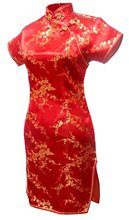Shanghai Story Short Qipao plum blossom Dragon faux silk dress short cheongsam