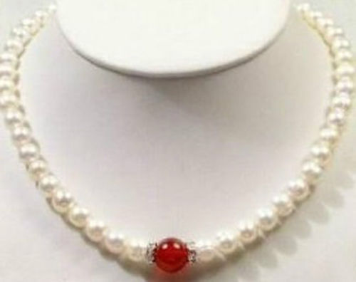 Chain Necklaces 2014 New Fashion Moving Free Shipping 7-8mm White Akoya Cultured Pearl Red Jades Necklace 18bv50