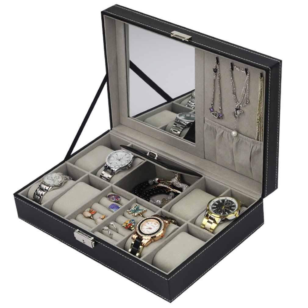 بو الجلود مشاهدة صندوق مجوهرات حافظة متعددة الوظائف صندوق تخزين المنظم ل أقراط خاتم سوار ساعة مجوهرات عرض حامل