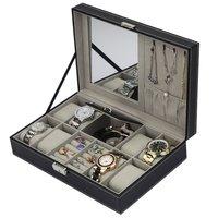 Caixa de relógio de couro do plutônio caixa de jóias caixa de armazenamento multifuncional organizador para brincos anel pulseira relógio de exibição de jóias titular