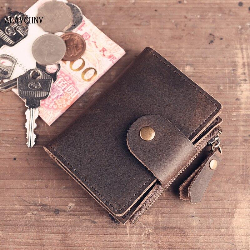 ALAVCHNV handmade leather goods original retro vintage zipper key bag male card package cowhide thin wallet A008 handmade leather goods