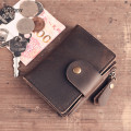 ALAVCHNV handmade leather goods original retro vintage zipper key bag male card package cowhide thin wallet A008