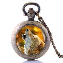 Howling Wolf Pocket Watch Necklace Animal Jewelry Vintage Bronze Quartz Watches Chain Necklace