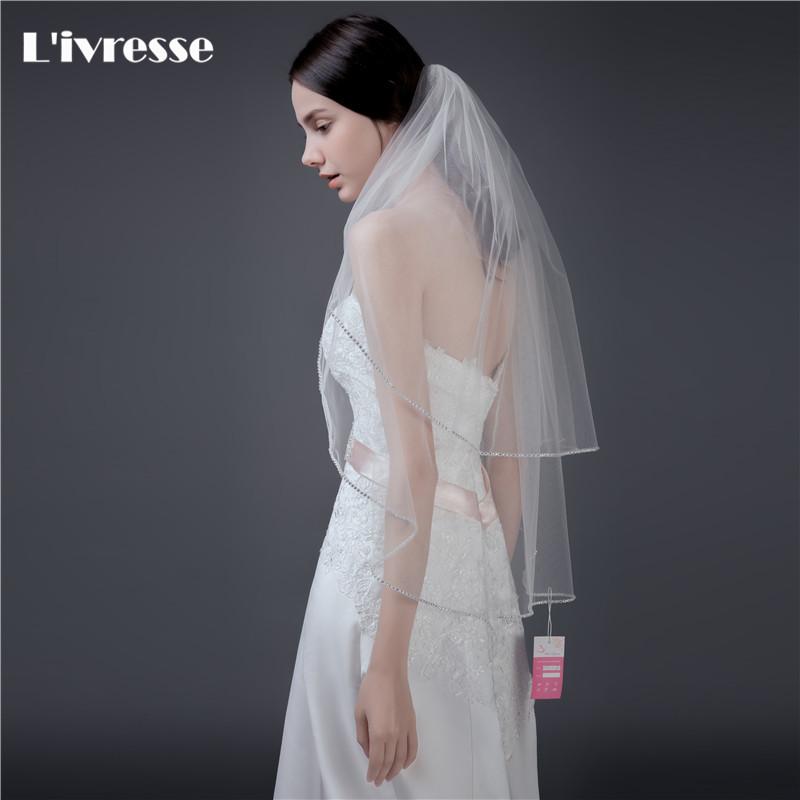 Top Quality 2 Layers Short Wedding Veil With Crystals Edge Bruidssluier Bridal Veils Comb Velo De Novia Voile Mariage In From Weddings