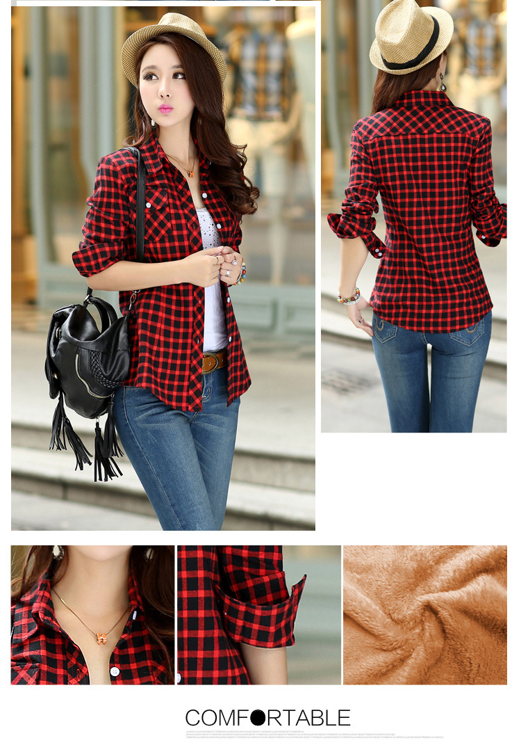 19 Brand New Winter Warm Women Velvet Thicker Jacket Plaid Shirt Style Coat Female College Style Casual Jacket Outerwear 12