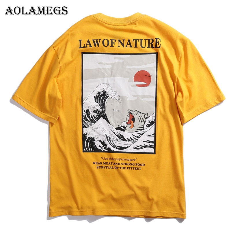 Aolamegs T Shirt Men Japanese Harajuku Cat Printed Men 39 s Tee Shirts O neck T Shirt Cotton High Street Tees Summer Streetwear in T Shirts from Men 39 s Clothing