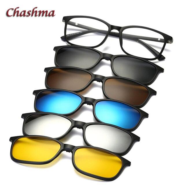 3ddfe0671d9b6 Chashma Marca 5 Clips Óculos De Sol Masculino Óculos Polarizados Quadro  Armações de Óculos de Sol