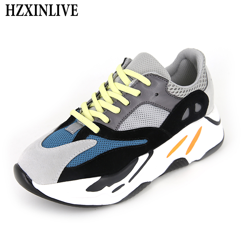 f7ae29956bc Chaussures Femmes Tenis Femelle Sneakers 700 Printemps gray Brown  Vulcaniser Mode Feminino 2019 Hzxinlive Lace Respirant ...