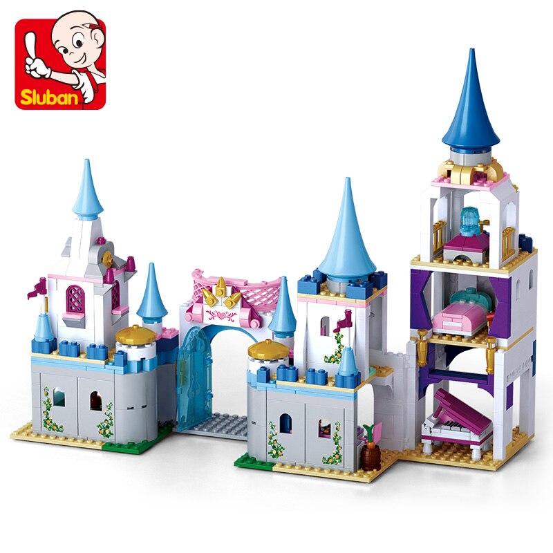 SLUBAN 0610 Pink Dreams Enchanted Castle Building Blocks Sapphire Princess Castle Girl Friends Kids Model Toys For Children