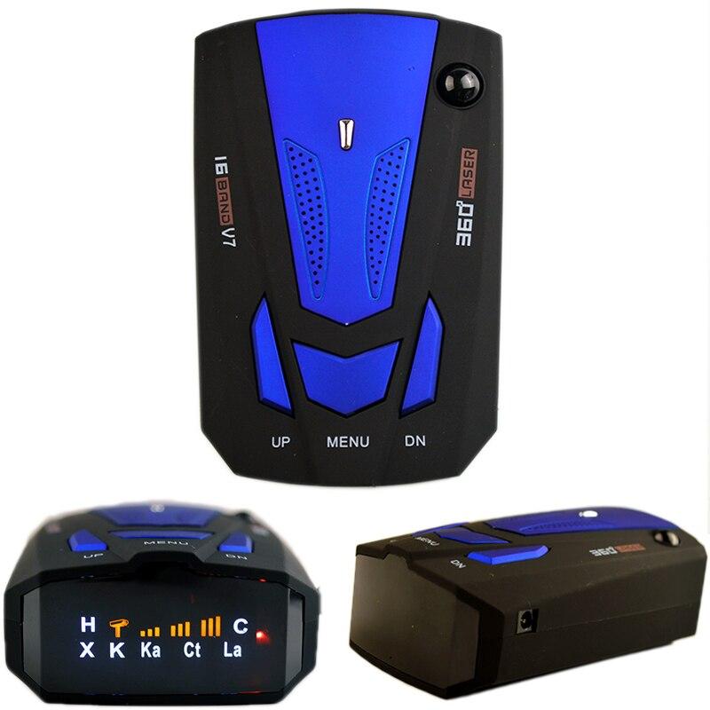 Viecar Auto 360 Degrés Anglais/Russe Voiture Anti Détecteur de Radar pour Véhicule V7 Vitesse Voix Alerte Avertissement 16 Bande LED Affichage