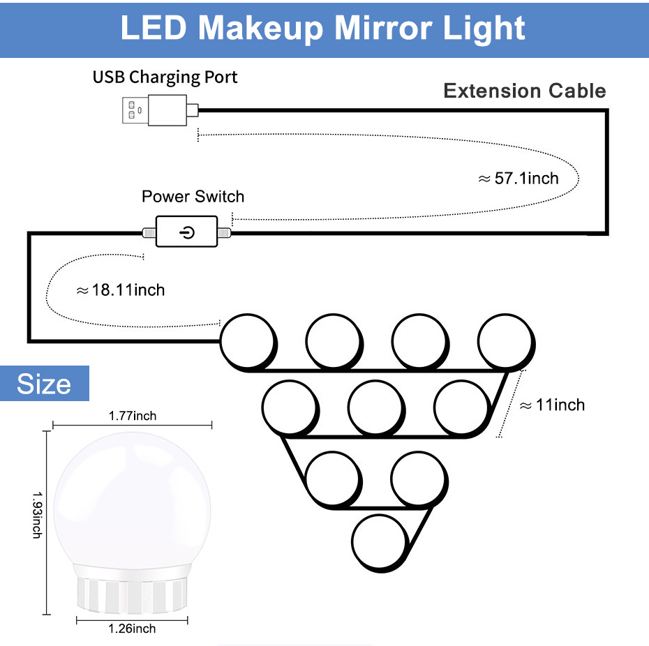 LED adaptables pour Miroir d'Hollywood montage facile | oko oko