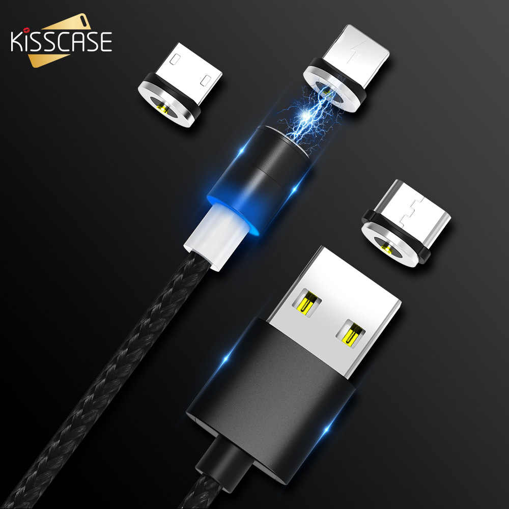 KISSCASE كابل مغناطيسي سريع شحن المصغّر usb نوع C الهاتف كابل ل فون سامسونج Xiaomi USB-C المغناطيس شاحن كابل شحن