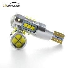 2 sztuk/partia 30W/50W/60W/80W AC12V 24V W5W T10 błąd bezpłatne wnętrza biała dioda LED CANBUS 6/10/12/16 SMD XBD żetony z obiektywu projektora