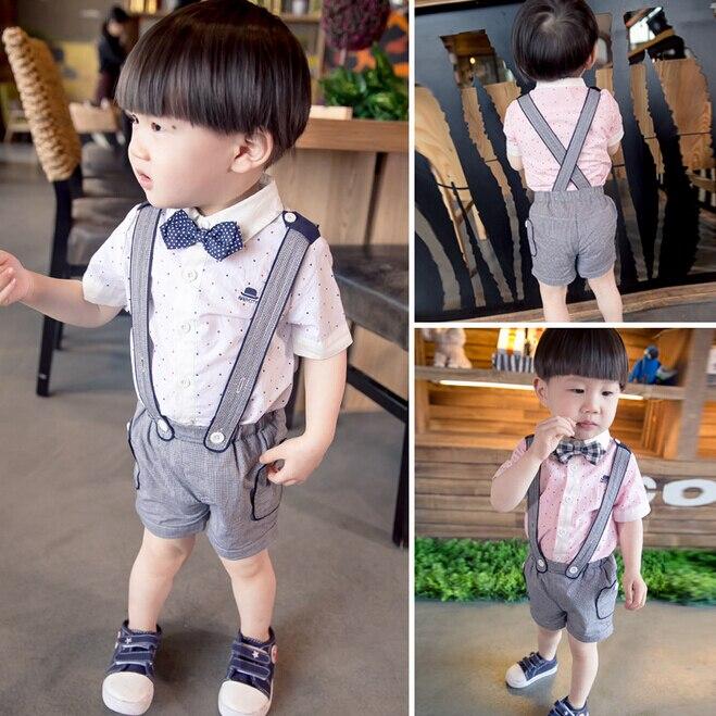 0af36017b Bosudhsou مولود جديد ملابس أطفال بنين الأطفال الملابس مجموعات قصيرة الأكمام  تي شيرت + الحمالة بنطلون وزرة الدعاوى 0-3y Ql-0