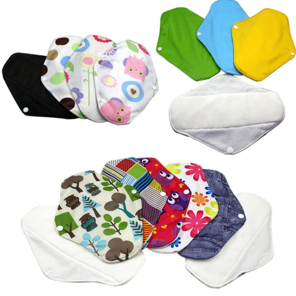 18x25cm Bamboo Charcoal Cloth Menstrual Pads Reusable Feminine Sanitary Pad Bamboo Cotton Breathable Washable Pad Panty Liners