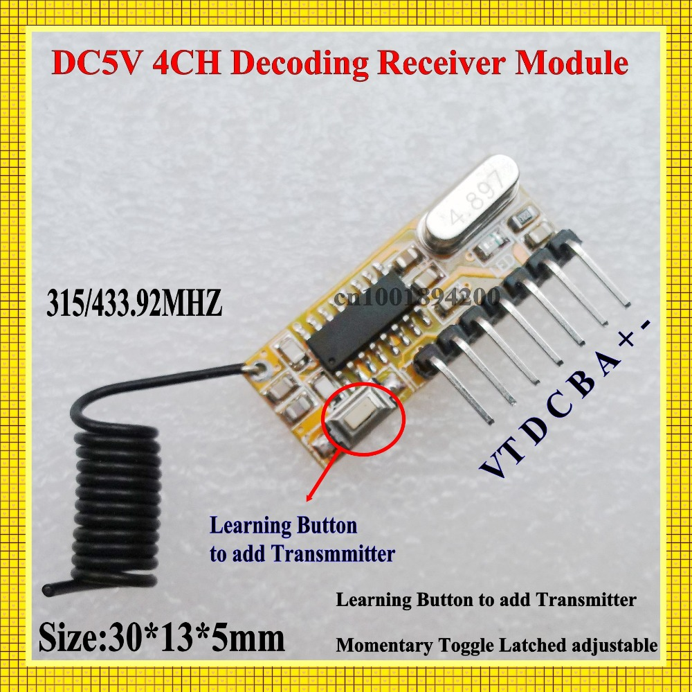 DC 5V 4CH Decoding Receiver Module High Level TTL RF Radio RX Mini Size Super heterodyne Learning Code Jog Self-Lock Inter-Lock dc 5v bluetooth audio receiver module usb tf sd card decoding board preamp output support fat32 system