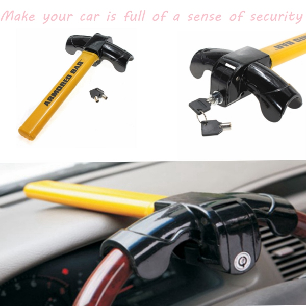 Universal T Style Auto Security Steering Wheel Lock Car Alarm Anti-theft Device Extra Secure with Tough-Steel Construction
