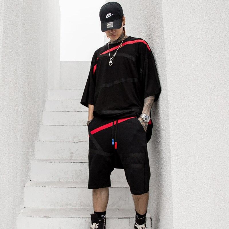 Homme Streetwear Hip Hop lâche t-shirts costumes hommes noir blanc manches courtes T-shirt ensembles (T-shirt + Short)
