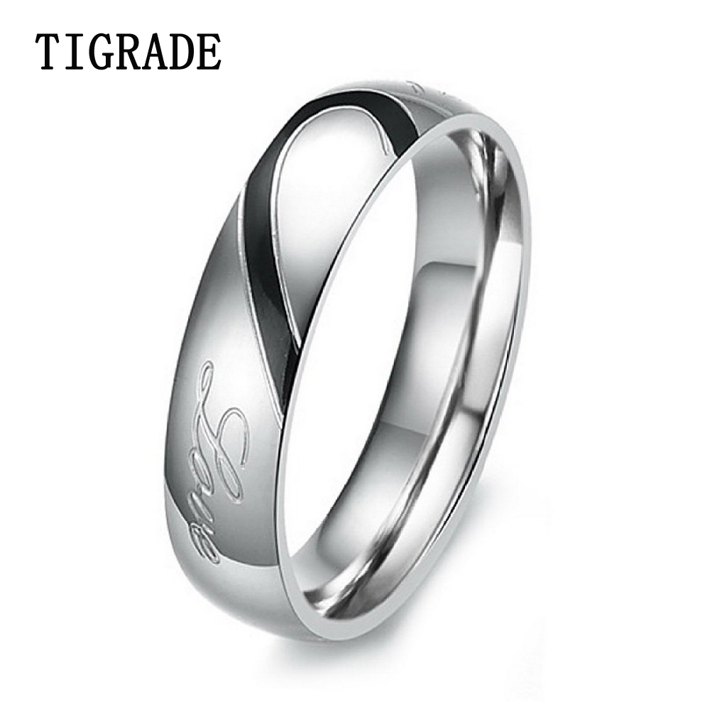 4mm5mm Heart Stainless Steel Ring Women Black Gold Couples Wedding Band Engagement  Rings For Men Jewelry