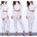 Fábrica de venda quente mulheres sexy macacão macacão branco de renda de corpo inteiro elegante jumpsuit mulheres bodysuit 9098