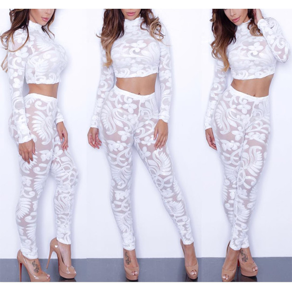 Factory Hot Selling Women Sexy Jumpsuit White Lace Jumpsuit Full