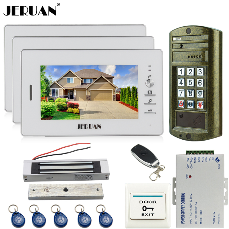 JERUAN NEW 7 inch Video Door Phone Intercom System kit 3 White Monitor+Metal Panel Access HD Mini Camera + 180KG Magentic lock