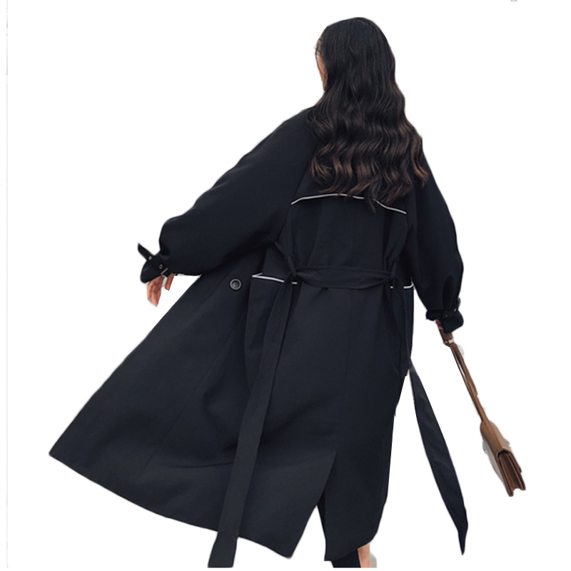 Trench-Coat Long-Sleeve Female Womens Double-Breasted Winter Korea Turn-Down-Collar