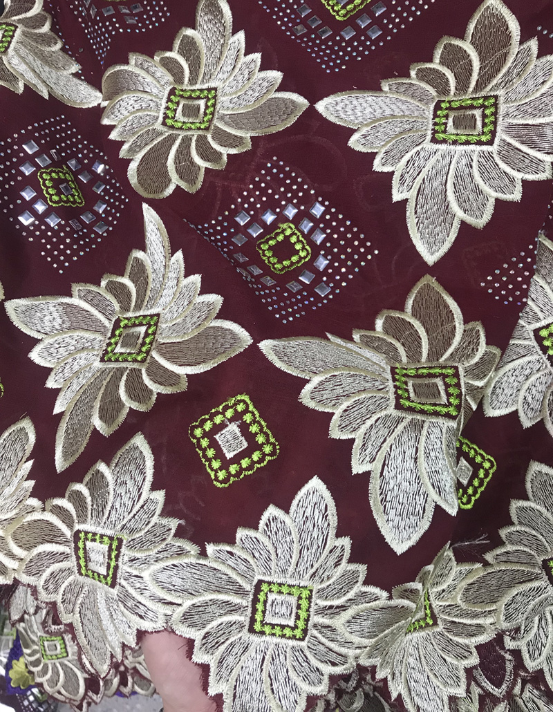 (5yards/pc) high quality wine color Swiss voile lace fabric fantastic embroidered African cotton lace for party dress CLS176(5yards/pc) high quality wine color Swiss voile lace fabric fantastic embroidered African cotton lace for party dress CLS176