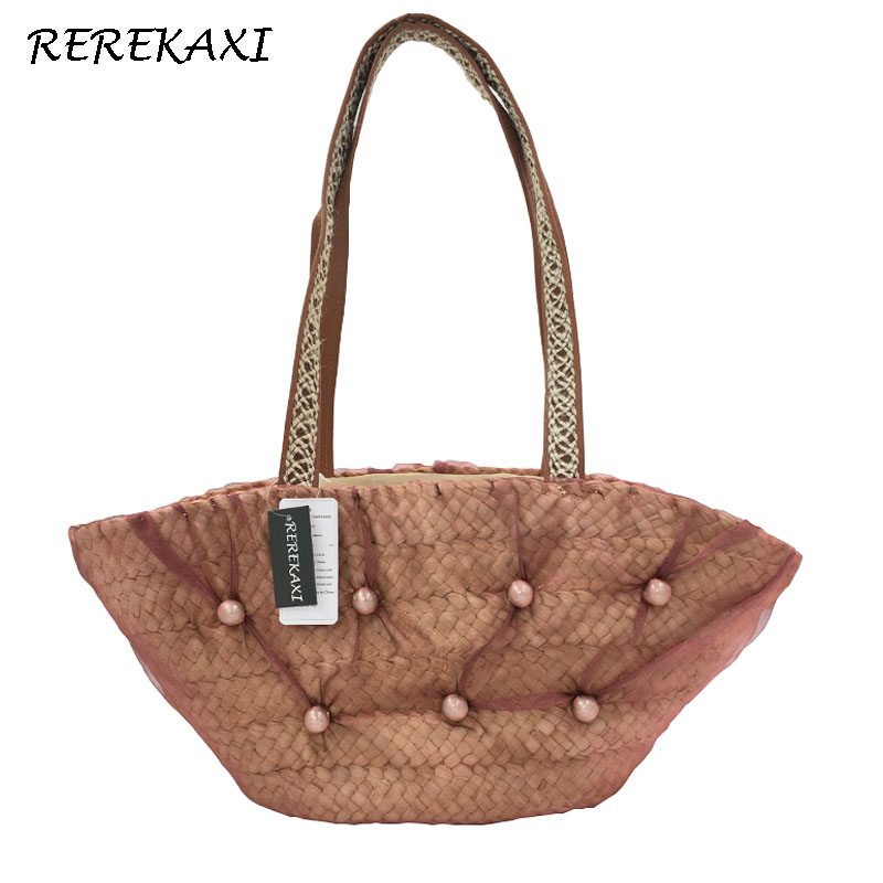 <font><b>REREKAXI</b></font> Straw weaving casual shoulder bags women's handbags ladies retro design handbag with mesh female rattan bag straw bags image