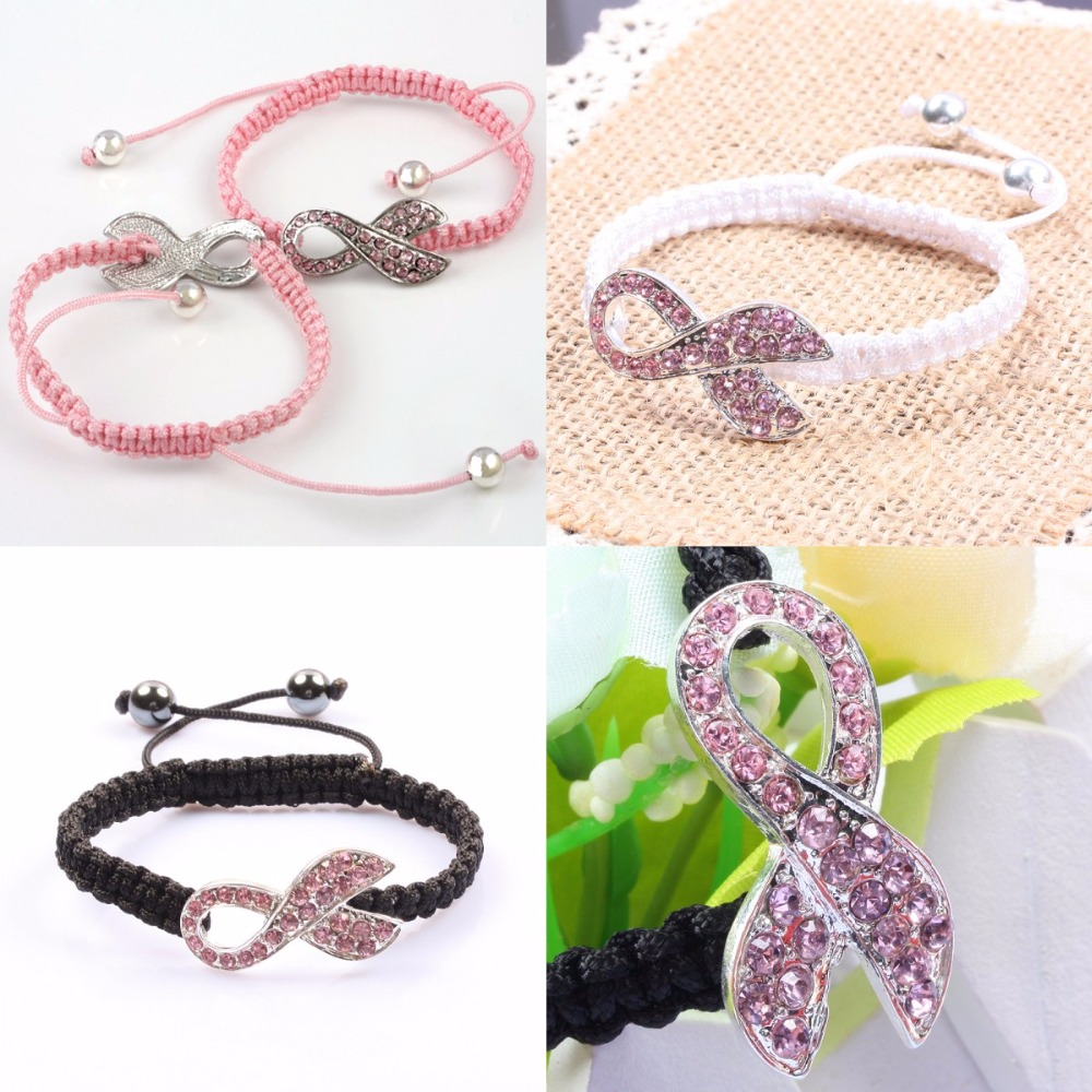 SUNYIK Pink Ribbon Breast Cancer Awareness Crystal Weaved Adjustable Wristband Bracelet