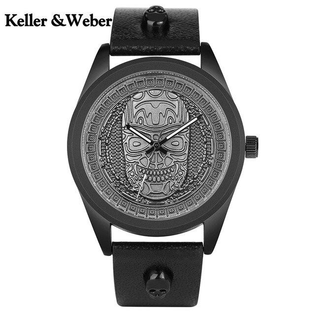 4923b048238 Creative Men Watch Vintage Bronze Retro Skull Head Stainless Steel Quartz  Watches Skeleton Ghost Genuine Leather Wristband saati