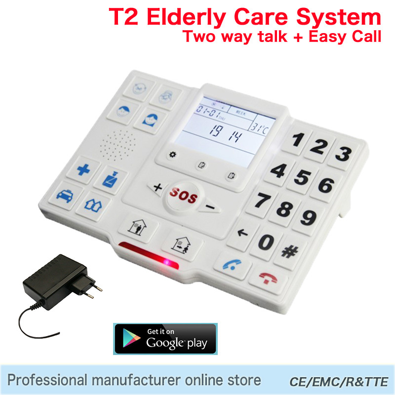 GSM Android Alarm Wireless GPRS SMS Home Security System LCD Sreen SOS Panic Button Elderly Care Panel Temperature Monitoring T2
