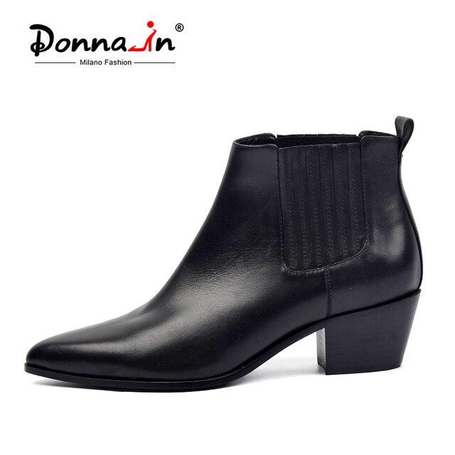 ドナブランド秋の女性の本革チェルシーでのブーツ女性の靴ポインテッドトゥ Bota Ş Feminina プラスサイズ