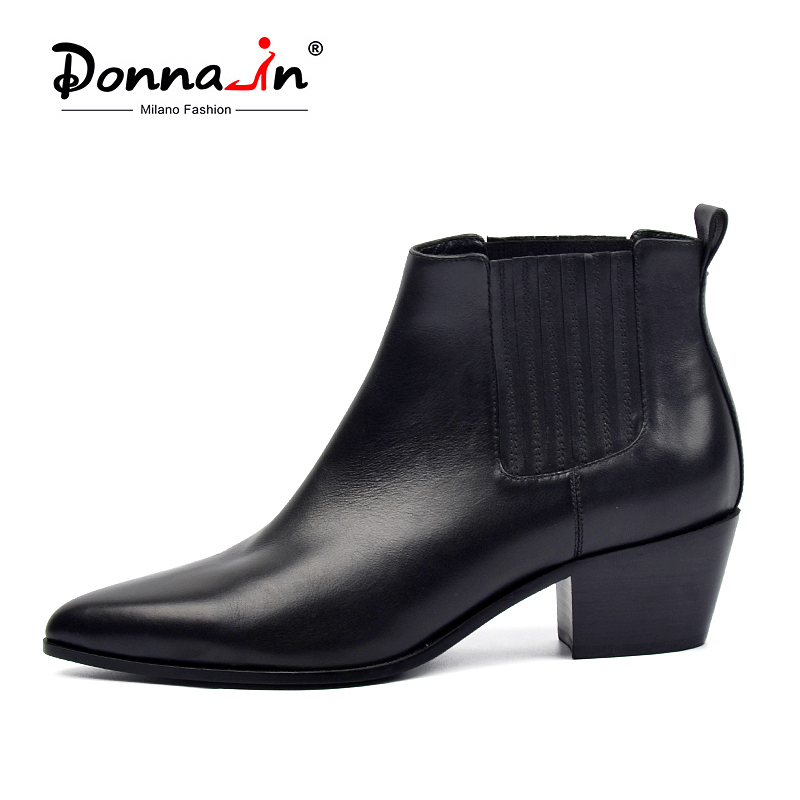 Donna-in Brand Autumn Ankle Boots Women Genuine Leather Chelsea Booties Ladies Shoes Pointed Toe Heels Botas Feminina Plus Size цена