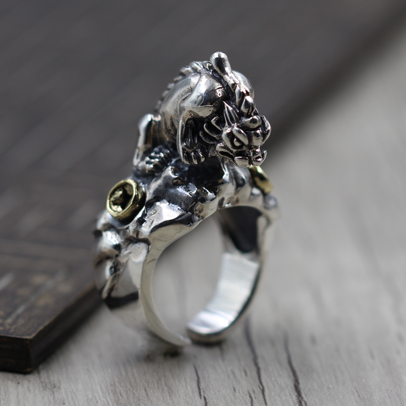 Thai men lucky ring finger opening character carved 925 Sterling Silver brave old ring