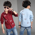 New 2016 children kids shirts big boys spring autumn shirts fashion cotton baby boys shirts tops