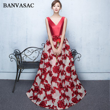 BANVASAC 2018 Elegant Satin V Neck Lace Appliques A Line Long Evening Dresses Party Bow Sash Backless Prom Gowns
