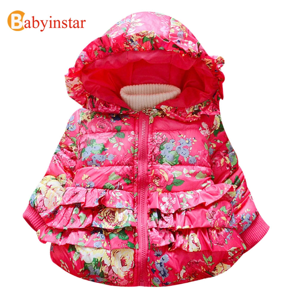 Babyinstar Floral Pattern Hooded Girls Parkas Long Sleeve Winter Thicken Warm Coat Lace Cute Kids Parkas Outwear