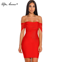 2018 New designer clothes woman off shoulder elastic bodycon bandage red tassel celebrities dress evening party dropship MD286